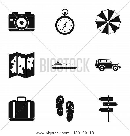 Tourism at sea icons set. Simple illustration of 9 tourism at sea vector icons for web