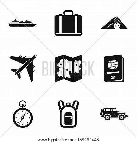 Journey to sea icons set. Simple illustration of 9 journey to sea vector icons for web