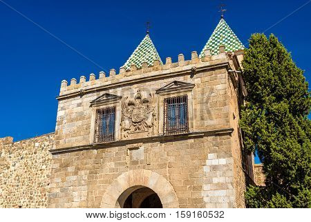 View of Puerta de Bisagra Nueva Gate in Toledo - Spain