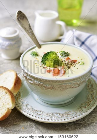 Vegetable Chowder With Cheese In A Blue Vintage Bowl.