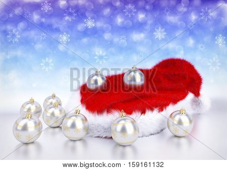 silver christmas balls with santa red hat on bokeh background - 3D illustration