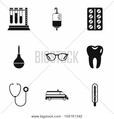 Diagnosis icons set. Simple illustration of 9 diagnosis vector icons for web