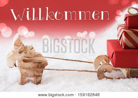 Moose Is Drawing A Sled With Red Gifts Or Presents In Snow. Christmas Card For Seasons Greetings. Red Christmassy Background With Bokeh Effect. German Text Willkommen Means Welcome