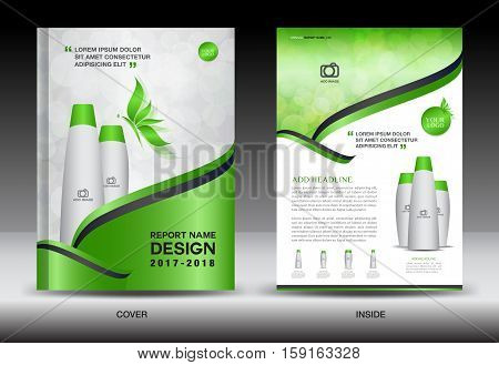 Annual report brochure flyer template, green cover design, cosmetics brochure flyer, template spa flyer