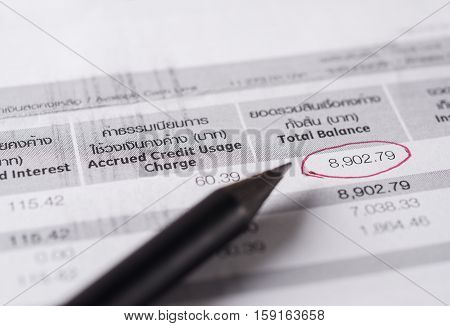 Save money concept Utility bill with pencil on paper bill background