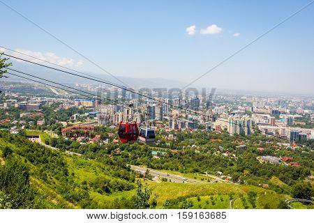 Almaty Skyline With Cable Car
