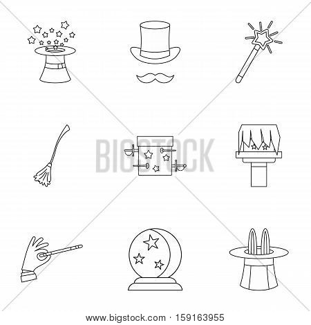Tricks icons set. Outline illustration of 9 tricks vector icons for web