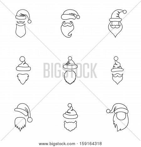 Magician Santa Claus icons set. Outline illustration of 9 magician Santa Claus vector icons for web