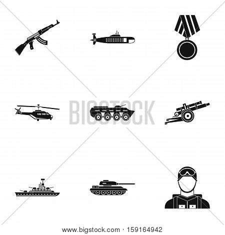 Military defense icons set. Simple illustration of 9 military defense vector icons for web