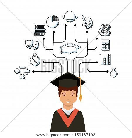 cartoon graduate man and academic icons around over white background. colorful design. vector illustration