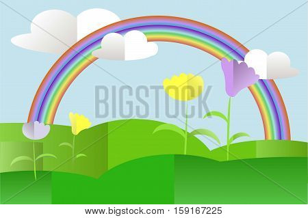 Green hills landscape, violet and yellow flowers, rainbow, blue sky, white clouds, flat design stock vector illustration