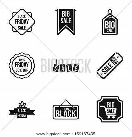 Price down icons set. Simple illustration of 9 price down vector icons for web
