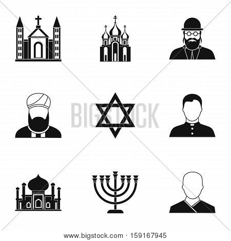 Faith icons set. Simple illustration of 9 faith vector icons for web