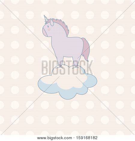 little cute unicorn in pastel colors on a background of polka-dot