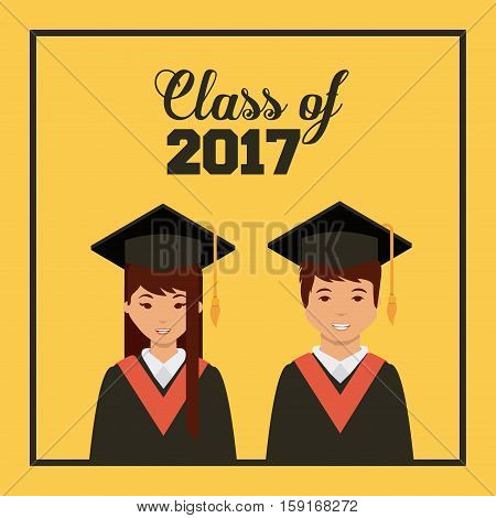 cartoon graduate woman and man with graduation gown and hat icon over yellow background. colorful design. vector illustration