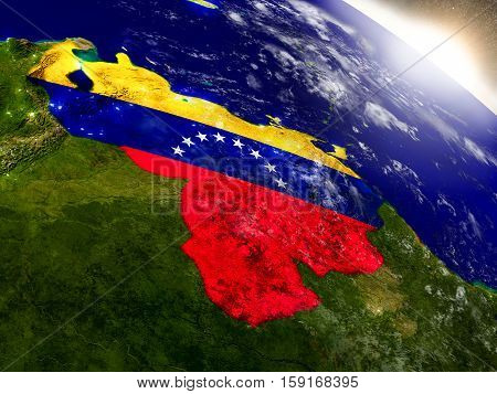 Venezuela With Flag In Rising Sun