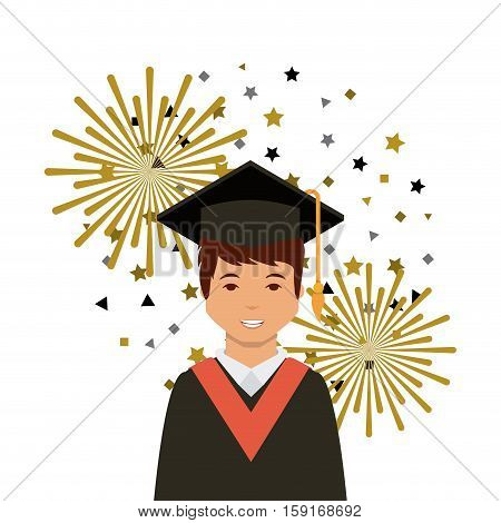 cartoon graduate man with graduation gown and hat icon over white background. colorful design. vector illustration