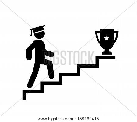 Upstairs icon sign. Walk man in the stairs. Education, Career Symbol. flat design. Vector illustration.