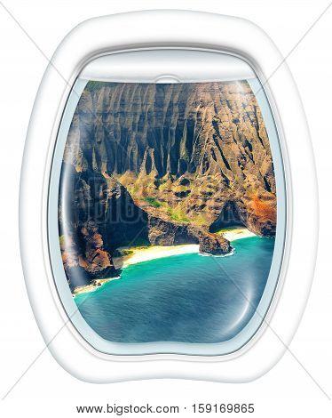 Plane window on Na Pali coast, Kauai, Hawaii, United States, from a plane through the porthole. Copy space.