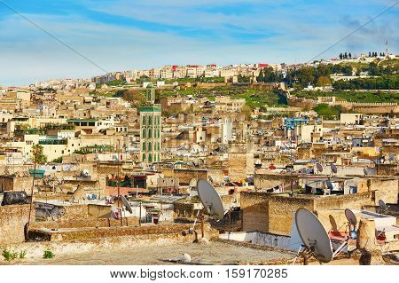 Scenic View To The Medina Of Fes With Mosk
