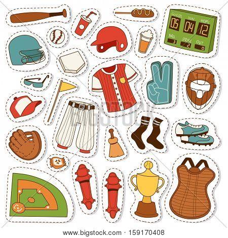 Cartoon baseball icons vector set.