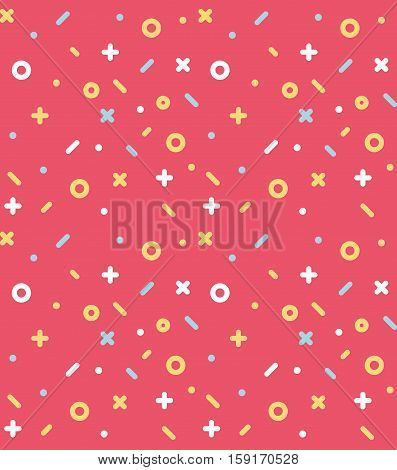 Geometric pattern with circles, dotes, pluses and crosses. Red background for the cover of the Memphis style or background