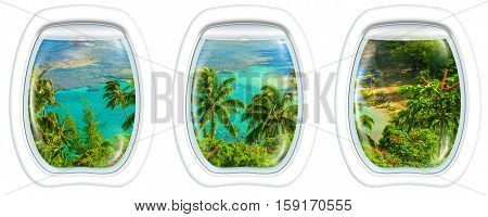 Three plane windows on Kee Beach, Kauai, Hawaii, United States, from a plane on the porthole windows. Copy space.