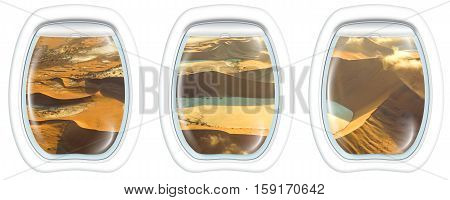 Three plane windows on Deadvlei, Sossusvlei desert in Namib Naukluft National Park, Namibia, from a plane on the porthole windows. Copy space.