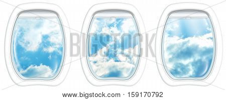 Three plane windows on a cloudy blue sky ad day. from a plane on the porthole windows. Copy space.