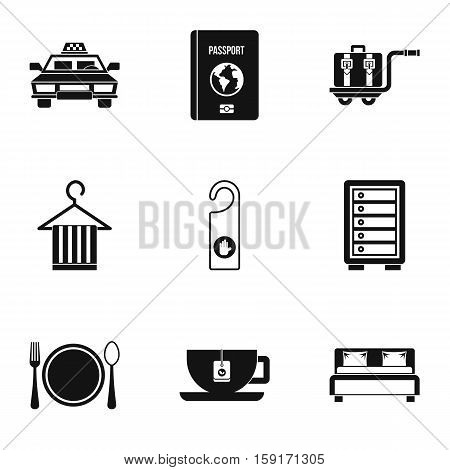 Hotel accommodation icons set. Simple illustration of 9 hotel accommodation vector icons for web