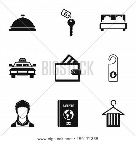 Hostel accommodation icons set. Simple illustration of 9 hostel accommodation vector icons for web