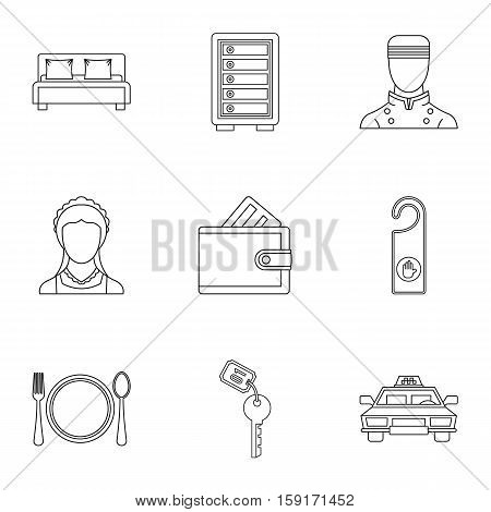 Hotel accommodation icons set. Outline illustration of 9 hotel accommodation vector icons for web