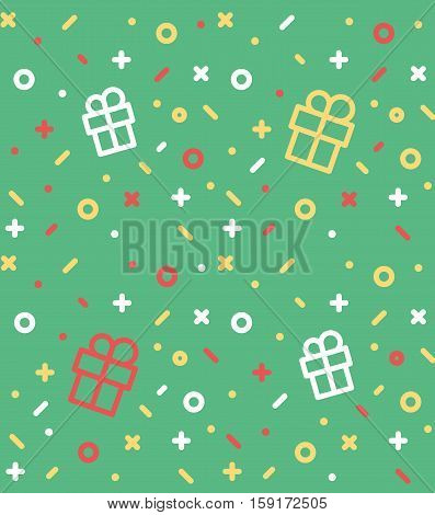 Geometric pattern with gift, circles, dotes, pluses and crosses. Green holyday background for the cover of the Memphis style or background