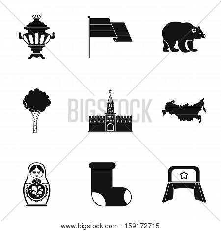 Country Russia icons set. Simple illustration of 9 country Russia vector icons for web