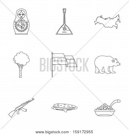 Tourism in Russia icons set. Outline illustration of 9 tourism in Russia vector icons for web