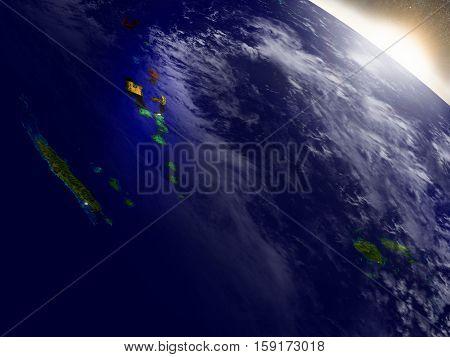 Vanuatu With Flag In Rising Sun