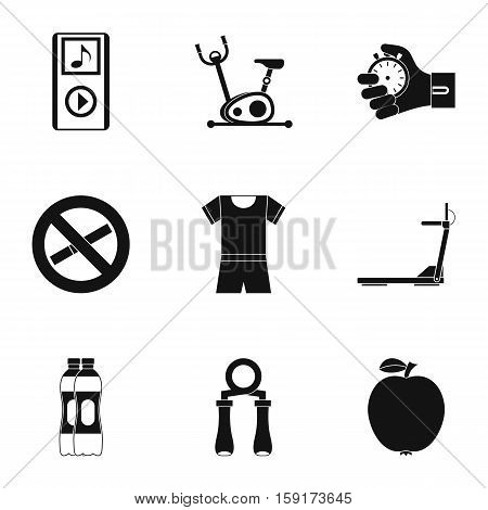 Fitness icons set. Simple illustration of 9 fitness vector icons for web