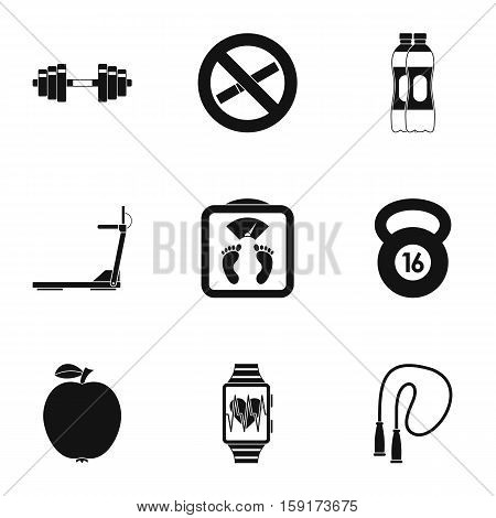 Classes in gym icons set. Simple illustration of 9 classes gym vector icons for web