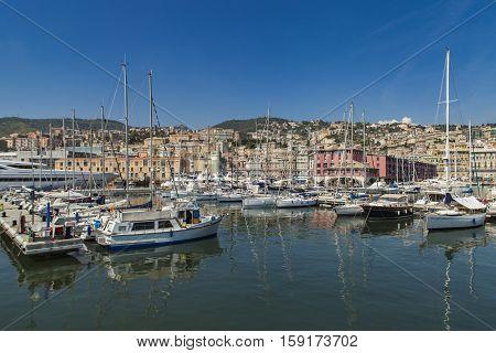 GENOA, ITALY - JUNE 2, 2015: Boats at Marina Molo Vecchio in Genoa Italy. Marina was founded in 1997 in the Old Port area.