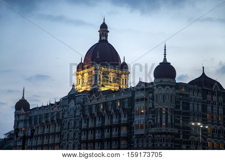 MUMBAI, INDIA - OCTOBER 9, 2015: Taj Mahal Palace Hotel in Mumbai India. This five star hotel was opened at 1903 and have 560 rooms and 44 suites.