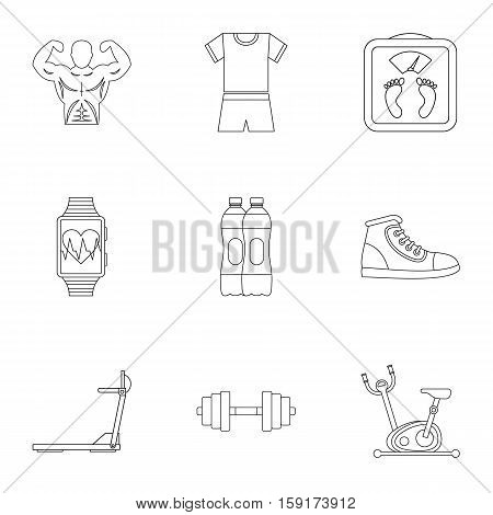 Classes in gym icons set. Outline illustration of 9 classes gym vector icons for web