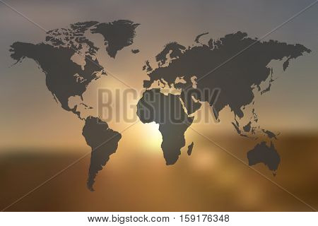 World map illustration on a sunset background