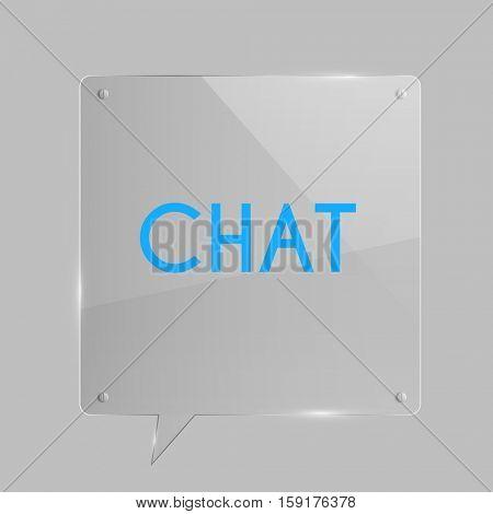 Glass speech bubble illustration on a grey background