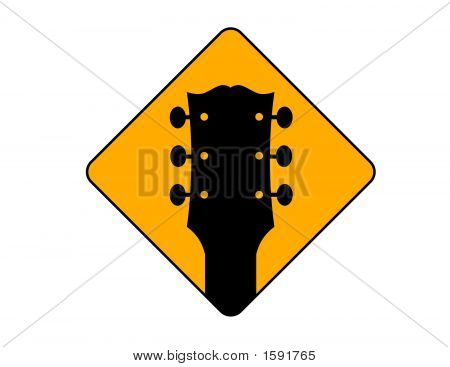 A depction of a yellow and black Guitar Sign poster