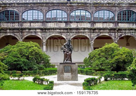 Santiago de Compostela, Spain, November 8, 2016: The courtyard of an old university building.