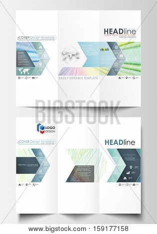 Tri-fold brochure business templates on both sides. Easy editable layout in flat style, vector illustration. Colorful background with abstract waves, lines. Bright color curves. Motion design