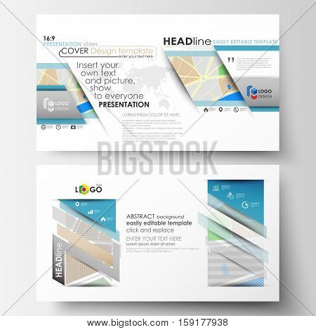Business templates in HD format for presentation slides. Easy editable abstract layouts in flat design. City map with streets. Flat design template for tourism businesses, abstract vector illustration.