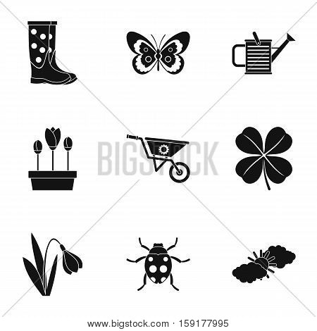 Garden icons set. Simple illustration of 9 garden vector icons for web
