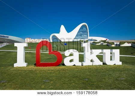 BAKU,AZERBAIJAN-OKT 4, 2016: Welcome in baku, Heydar Aliyev Center on Oct 4, 2016 in Baku, Azerbaijan. Heydar Aliyev Center won the Design Museum's Designs of the Year Award in 2014