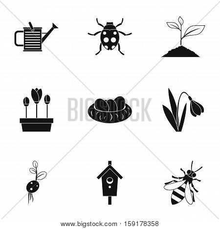 Farming icons set. Simple illustration of 9 farming vector icons for web